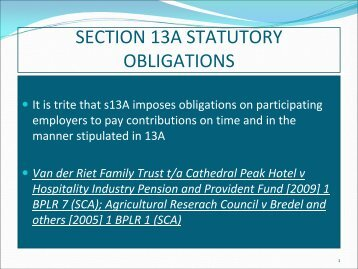 SECTION 13A STATUTORY OBLIGATIONS