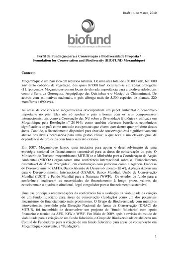 Perfil da Fundação para a Conservação e Biodiversidade Proposta ...