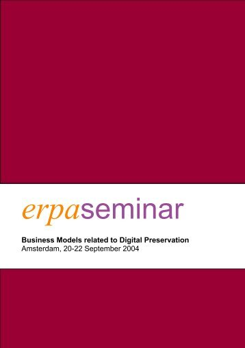 BUSINESS MODELS SEMINAR REPORT - Erpanet