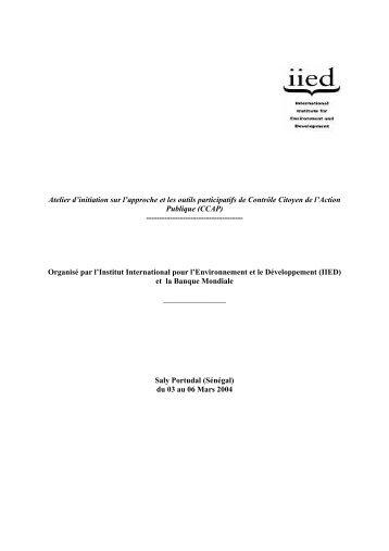 Rapport CCAP N°1 - IED afrique