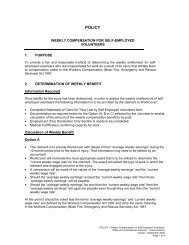 Workcover Policy for Self Employed Volunteers - Surf Life Saving NSW