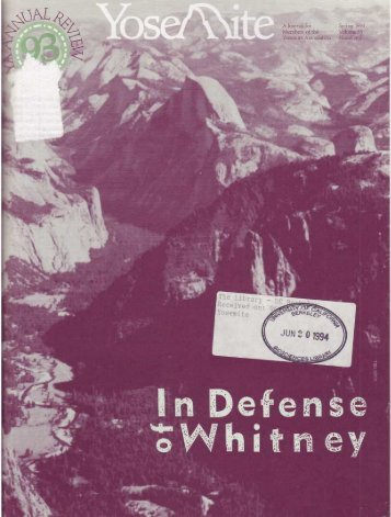 A Journal for Spring 1994 Members of the Volume ... - Yosemite Online