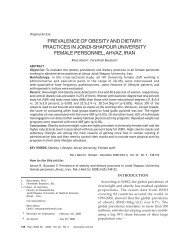 PREVALENCE OF OBESITY AND DIETARY PRACTICES IN JONDI ...