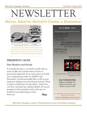 RAS 2011 October Newsletter - Royal Asiatic Society in Shanghai