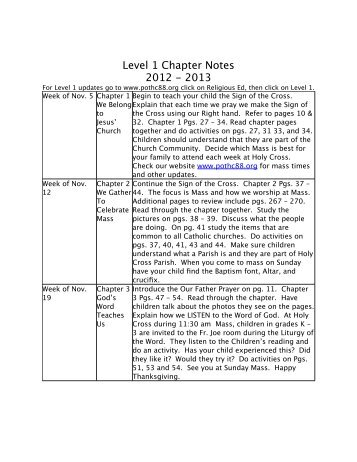 Level 1 chapter notes 2012 - Parish of the Holy Cross