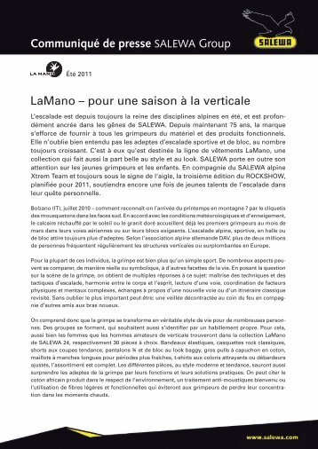 LaMano – pour une saison à la verticale Communiqué de ... - Salewa