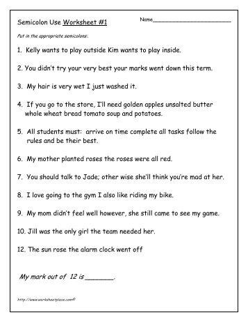 Semi Colon Worksheet Worksheets For School - Signaturebymm