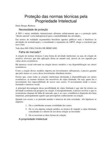 Proteção das normas técnicas pela Propriedade Intelectual