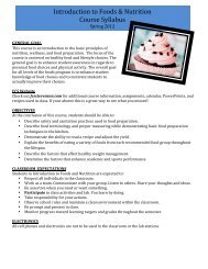 Introduction to Foods & Nutrition Course Syllabus - Adlai E ...
