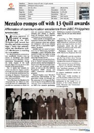 Meralco romps off with 13 Quill awards
