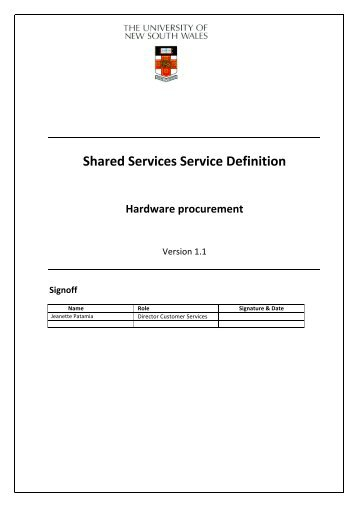 Shared Services Service Definition Hardware procurement - UNSW IT