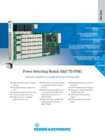 Power Switching Module R&S TS-PSM1 - Rohde & Schwarz