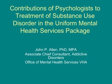 Contributions of Psychology to the Uniform Mental Health Services ...