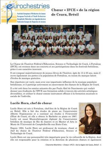 Chœur « IFCE » de la région de Ceara, Brésil - Eurochestries