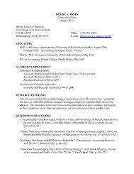 DENISE A. JONES Curriculum Vitae August 2011 Mason School of ...