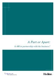 A Part or Apart: Is HR in partnership with the business? - Hudson