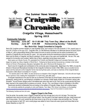 Chronicle Spring 2013 - Craigville