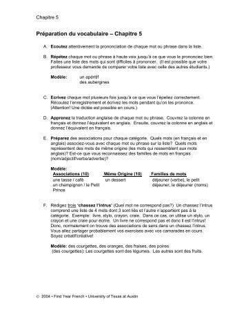 Préparation du vocabulaire – Chapitre 5