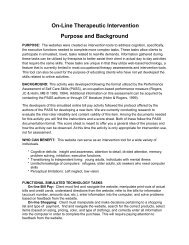 On-Line Therapeutic Intervention Purpose and Background