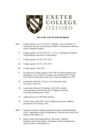 Rectors and Senior Members - Exeter College - University of Oxford