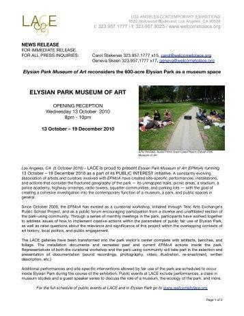 ELYSIAN PARK MUSEUM OF ART - LACE