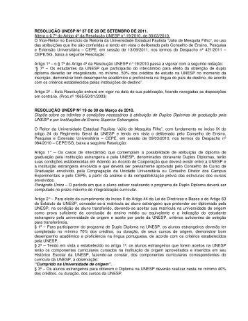 RESOLUÇÃO UNESP Nº 37 DE 28 DE SETEMBRO DE 2011. Altera ...