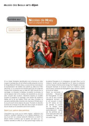 Nicolas de Hoey, Saint Luc peignant la Vierge - Musée des beaux ...