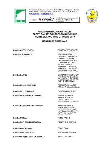 organismi nazionali falcri eletti dal 17° congresso nazionale ...