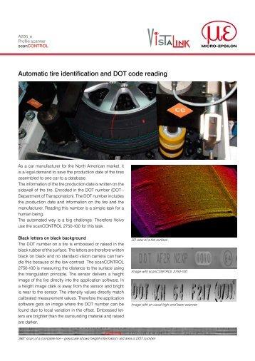 Automatic tire identification and DOT code reading - Micro-Epsilon
