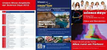 im Europa-Park 11.–13. Oktober 2012 - Science Days