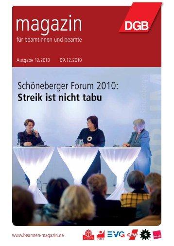 Schöneberger Forum 2010: Streik ist nicht tabu - Landesbeamte