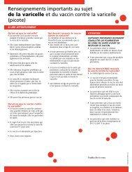 Renseignements importants au sujet de la varicelle et du vaccin ...