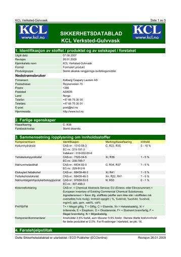 SIKKERHETSDATABLAD KCL Verksted-Gulvvask - Kolberg ...