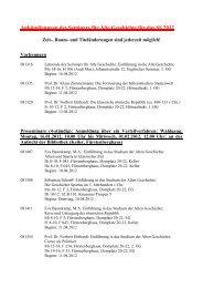Ankündigungen des Seminars für Alte Geschichte für das SS 2011