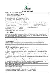 PLANO DE ENSINO ANO LETIVO/SEMESTRE: 2011/1 I – DADOS ...