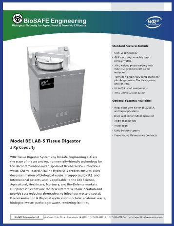 Model BE LAB-5 Tissue Digestor-5kg Capacity