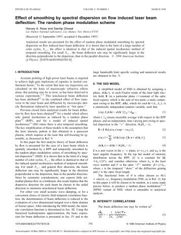 Effect of smoothing by spectral dispersion on flow induced laser ...