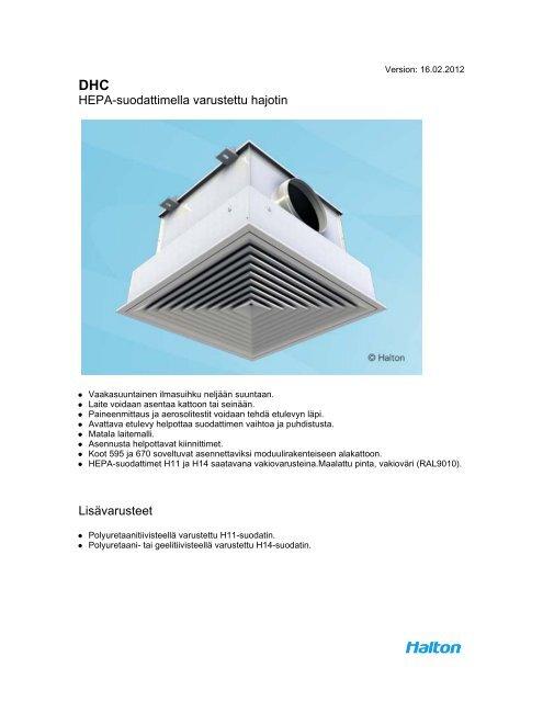 HEPA-suodattimella varustettu hajotin Lisävarusteet - Halton