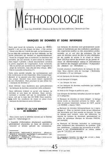BANQUES DE DONNÉES ET SOINS INFIRMIERS - Banque de ...