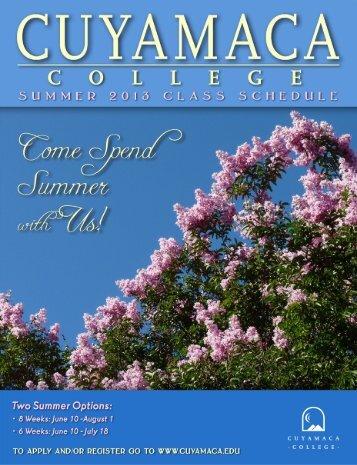 Summer 2013 Full Class Schedule - Cuyamaca College