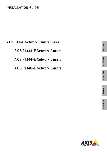INSTALLATION GUIDE AXIS P13-E Network Camera ... - IP Way