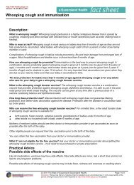 Whooping Cough and Immunisation — Queensland Health Fact Sheet