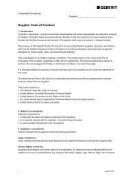 Code of Conduct for Suppliers - Geberit International AG