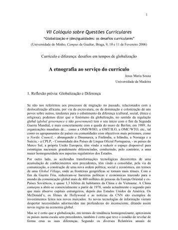 A etnografia ao serviço do currículo - Universidade da Madeira