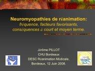Neuromyopathies de réanimation : fréquence, facteurs favorisants ...