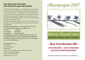 Ölkampagne 2007 - Oelkampagne der Azienda Agricola Noiano