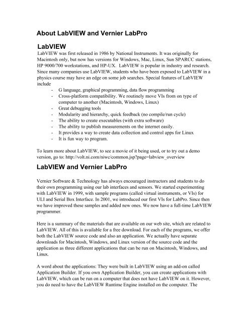 LabVIEW and Vernier LabPro