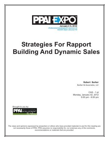 Strategies For Rapport Building And Dynamic Sales - The PPAI Expo
