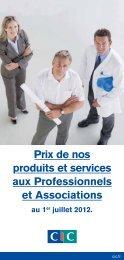 Prix de nos produits et services aux Professionnels et ... - CIC