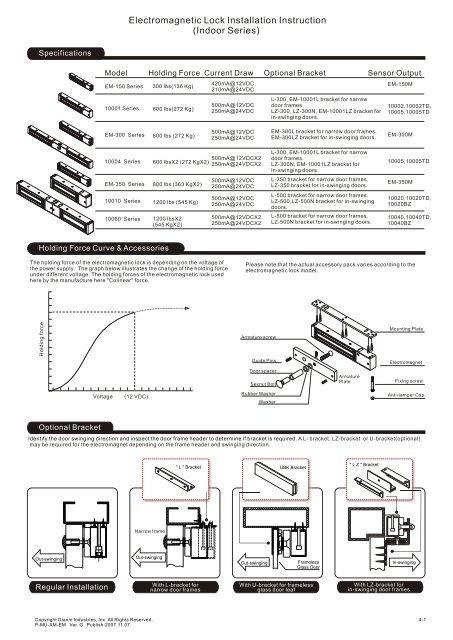 Electromagnetic Lock Installation Instruction (Indoor Series) - Mamut ...
